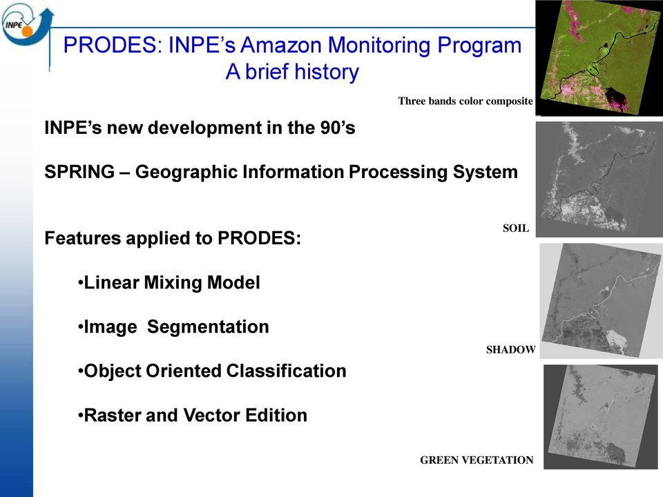 Processing System Features applied to PRODES: SOIL Linear Mixing Model Image