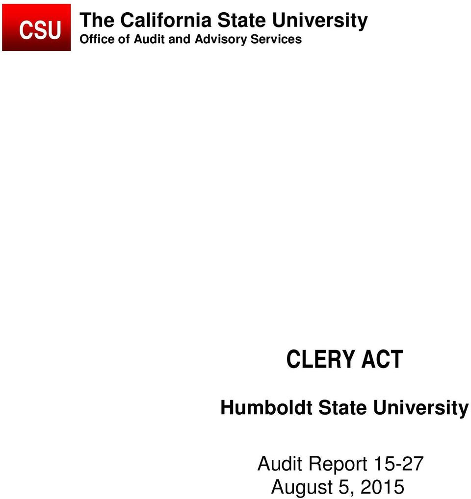 Services CLERY ACT Humboldt State