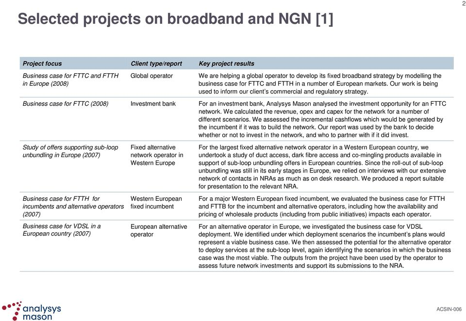 Western European fixed incumbent European alternative operator We are helping a global operator to develop its fixed broadband strategy by modelling the business case for FTTC and FTTH in a number of