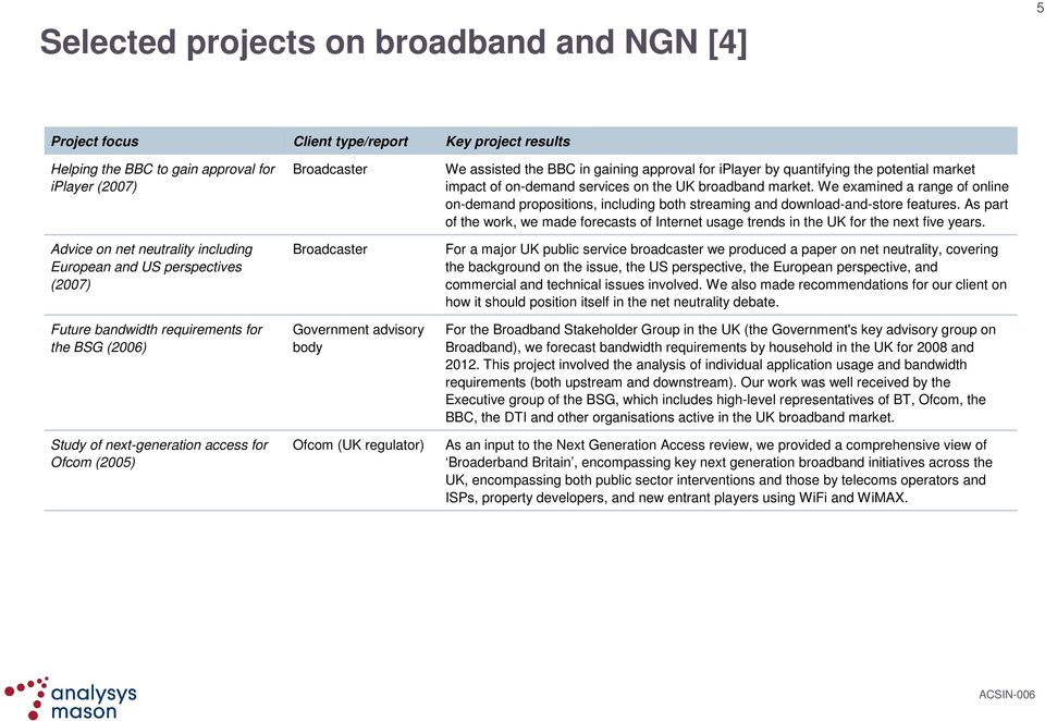 quantifying the potential market impact of on-demand services on the UK broadband market.