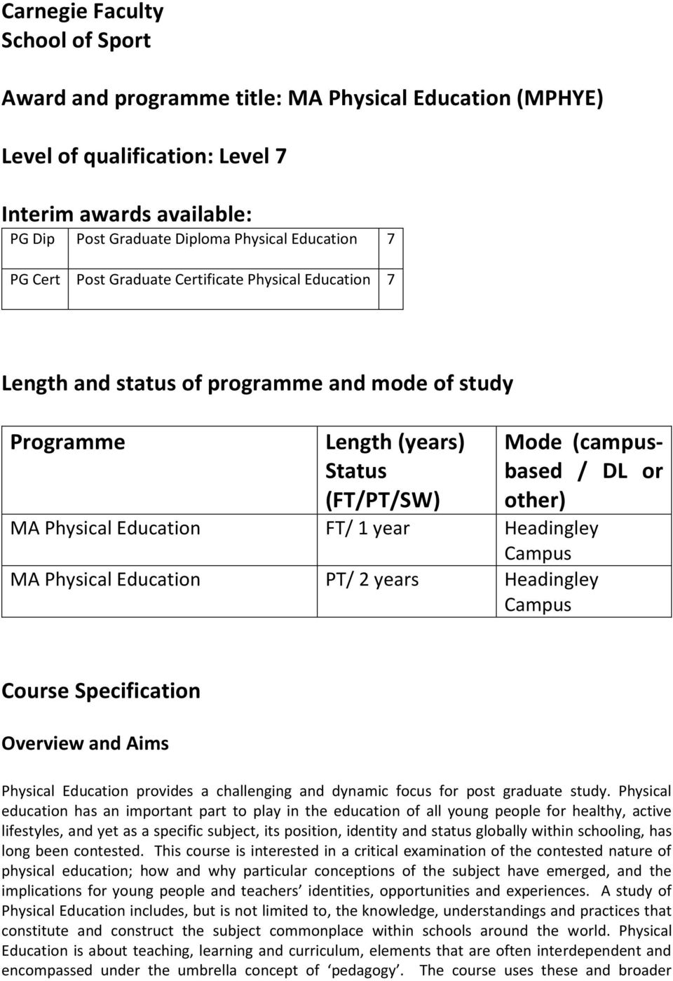 Education FT/ 1 year Headingley Campus MA Physical Education PT/ 2 years Headingley Campus Course Specification Overview and Aims Physical Education provides a challenging and dynamic focus for post