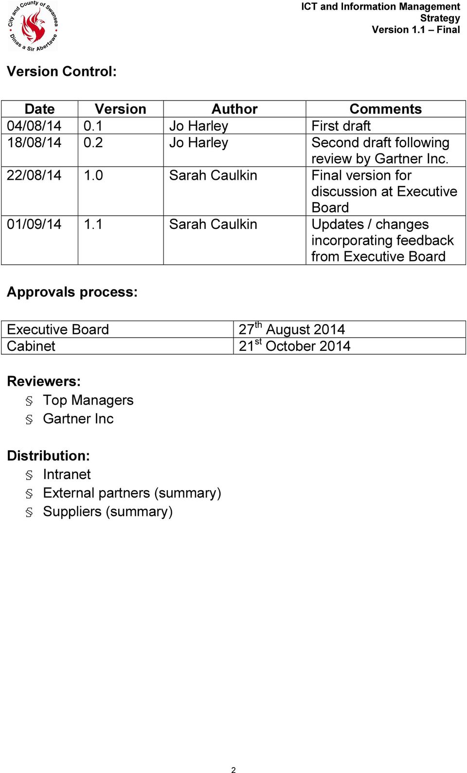 0 Sarah Caulkin Final version for discussion at Executive Board 01/09/14 1.