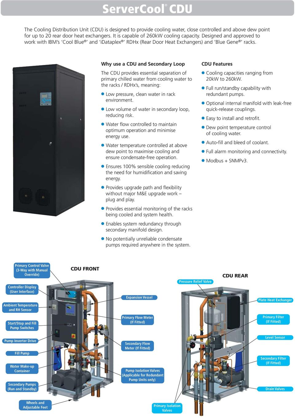 Why use a CDU and Secondary Loop The CDU provides essential separation of primary chilled water from cooling water to the racks / RDHx s, meaning: Low pressure, clean water in rack environment.