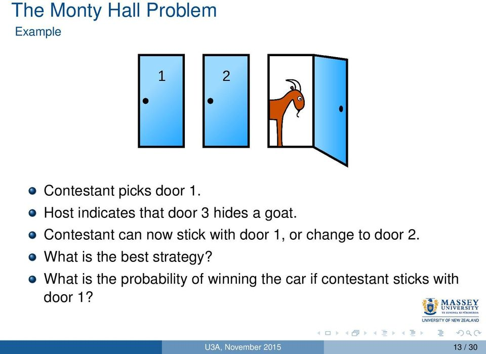 Contestant can now stick with door 1, or change to door 2.