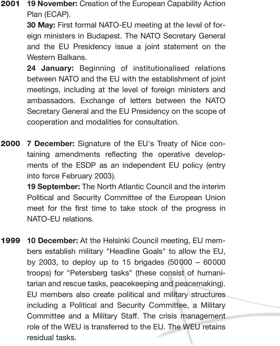 24 January: Beginning of institutionalised relations between NATO and the EU with the establishment of joint meetings, including at the level of foreign ministers and ambassadors.