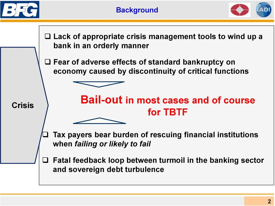 Bail-out in most cases and of course for TBTF Tax payers bear burden of rescuing financial institutions