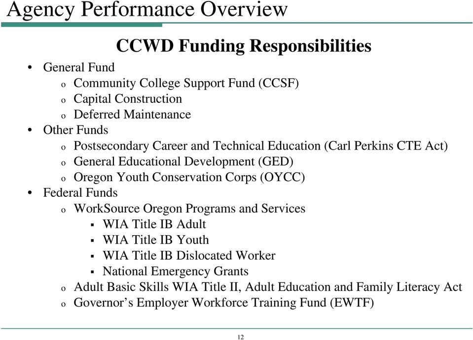 Conservation Corps (OYCC) Federal Funds o WorkSource Oregon Programs and Services WIA Title IB Adult WIA Title IB Youth WIA Title IB Dislocated Worker