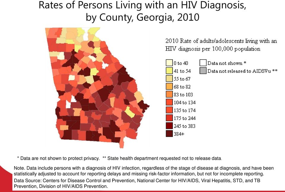 Data include persons with a diagnosis of HIV infection, regardless of the stage of disease at diagnosis, and have been statistically adjusted to