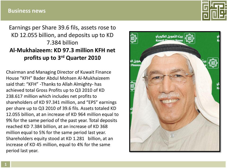 total Gross Profits up to Q3 2010 of KD 238.617 million which includes net profits to shareholders of KD 97.341 million, and EPS earnings per share up to Q3 2010 of 39.6 fils. Assets totaled KD 12.