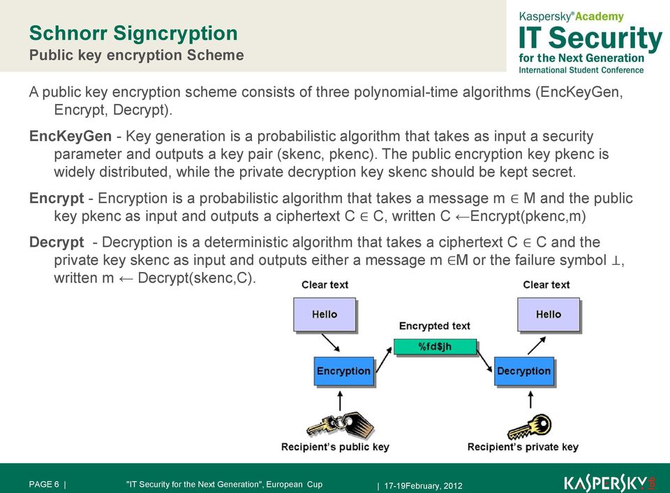 The public encryption key pkenc is widely distributed, while the private decryption key skenc should be kept secret.