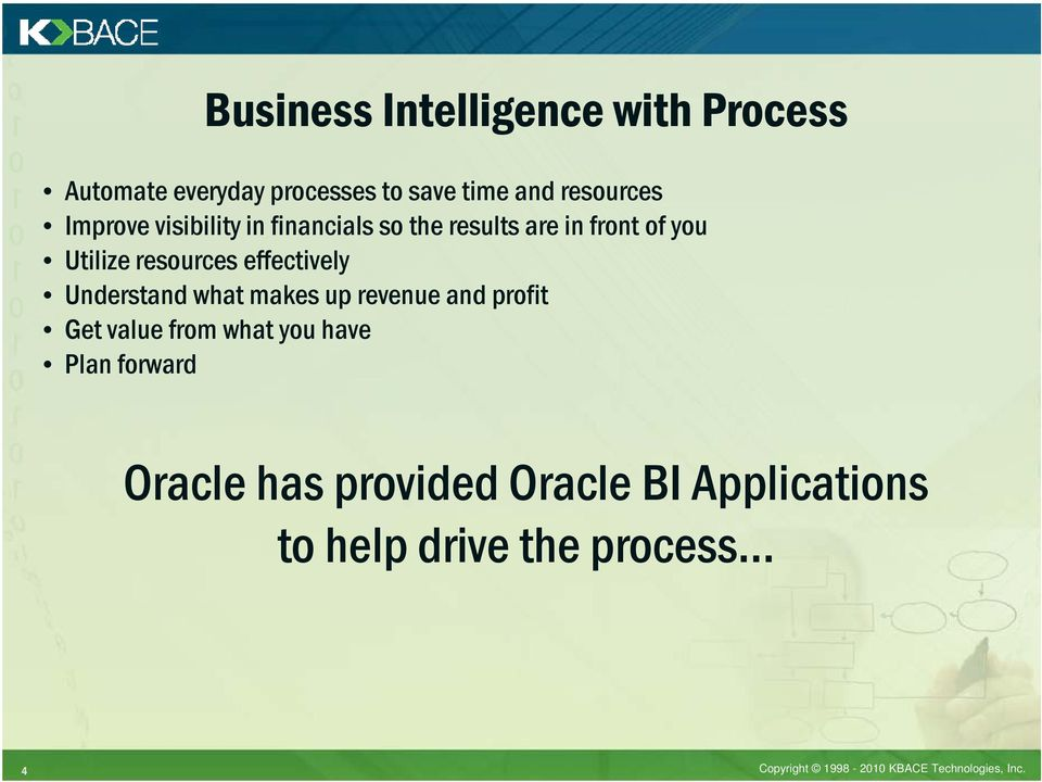 Understand what makes up revenue and profit Get value from what you have Plan forward Oracle has