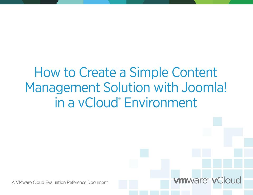 in a vcloud Environment A VMware