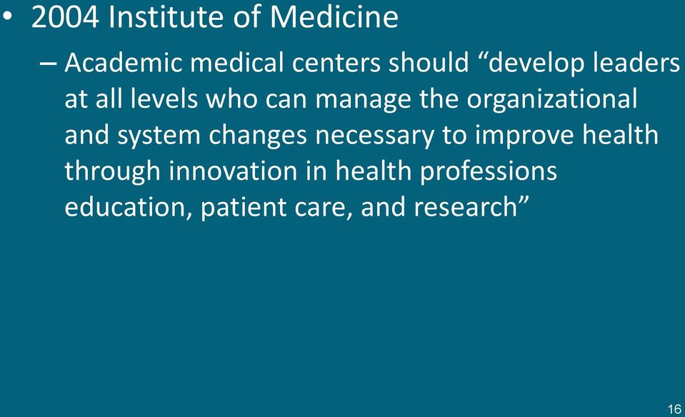 organizational and system changes necessary to improve health