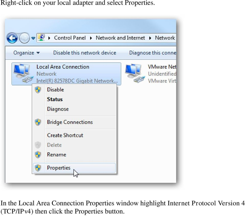 In the Local Area Connection Properties window