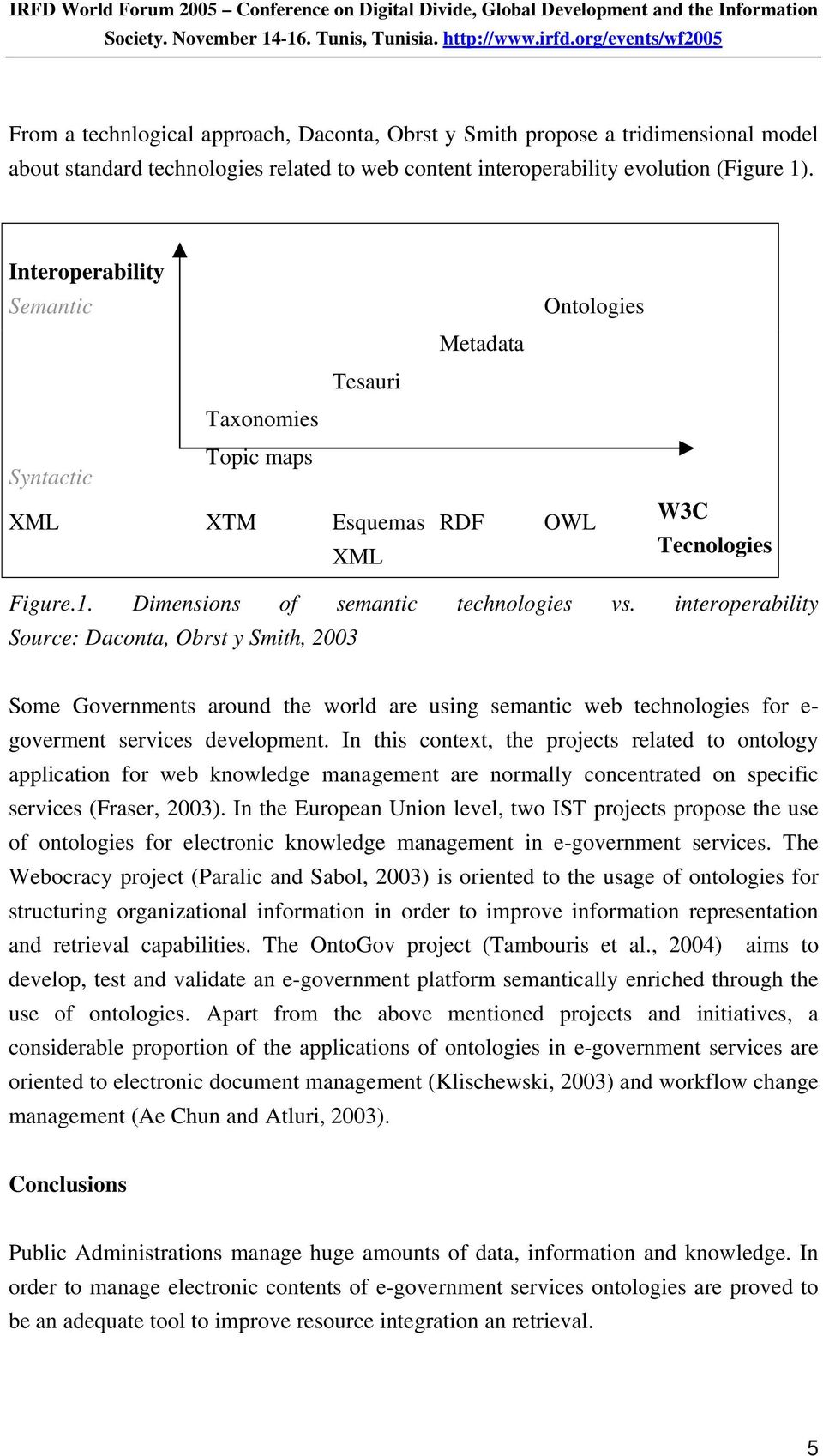 interoperability Source: Daconta, Obrst y Smith, 2003 Some Governments around the world are using semantic web technologies for e- goverment services development.