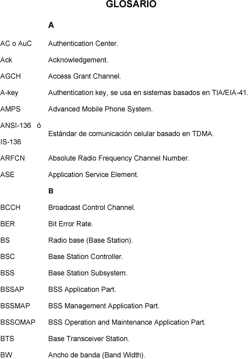 Absolute Radio Frequency Channel Number. Application Service Element. B BCCH BER BS BSC BSS BSSAP BSSMAP BSSOMAP BTS BW Broadcast Control Channel. Bit Error Rate.