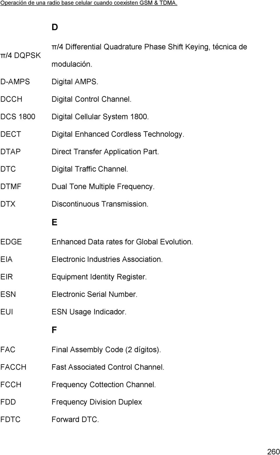 Discontinuous Transmission. E EDGE EIA EIR ESN EUI Enhanced Data rates for Global Evolution. Electronic Industries Association. Equipment Identity Register.