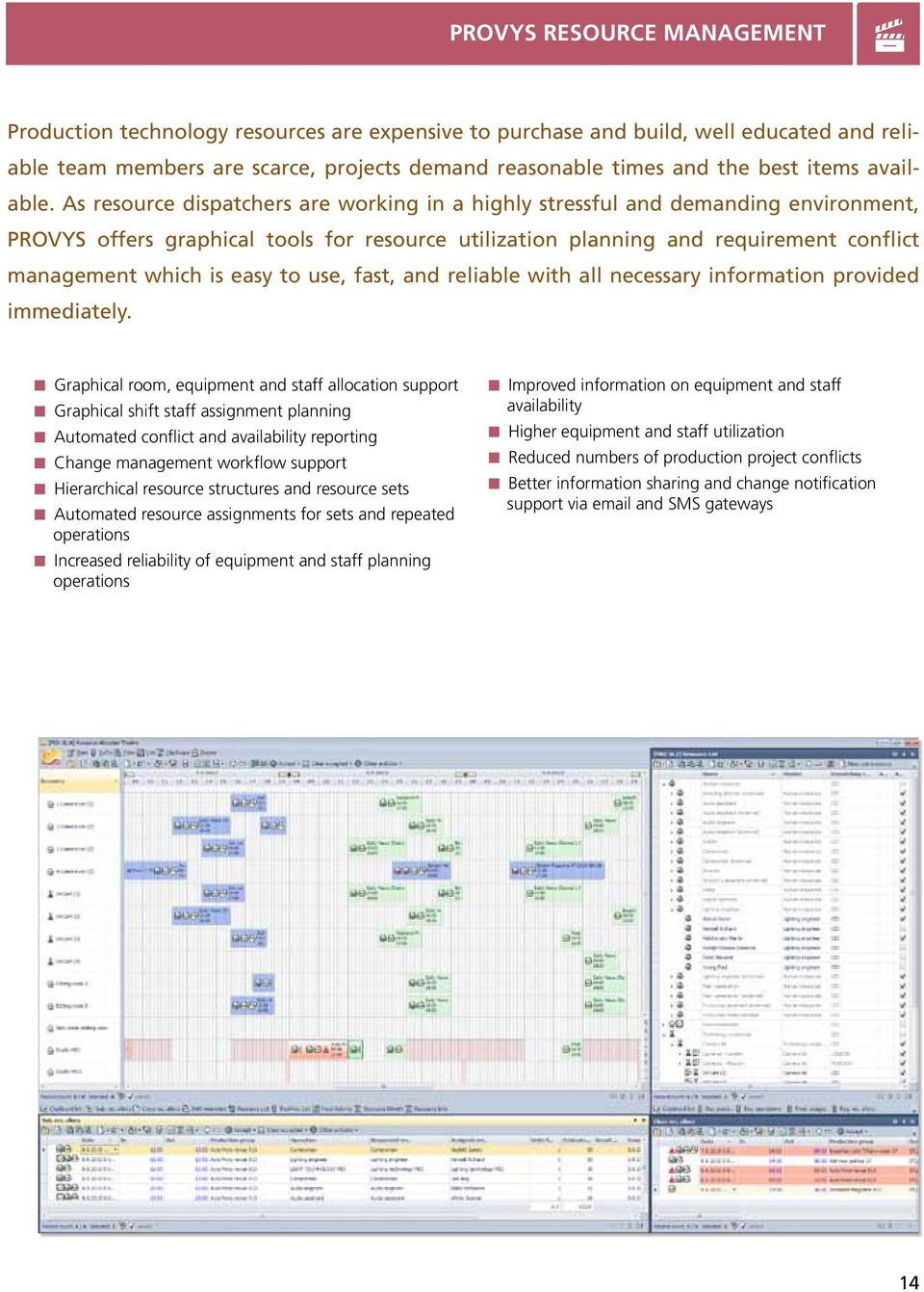 As resource dispatchers are working in a highly stressful and demanding environment, PROVYS offers graphical tools for resource utilization planning and requirement conflict management which is easy
