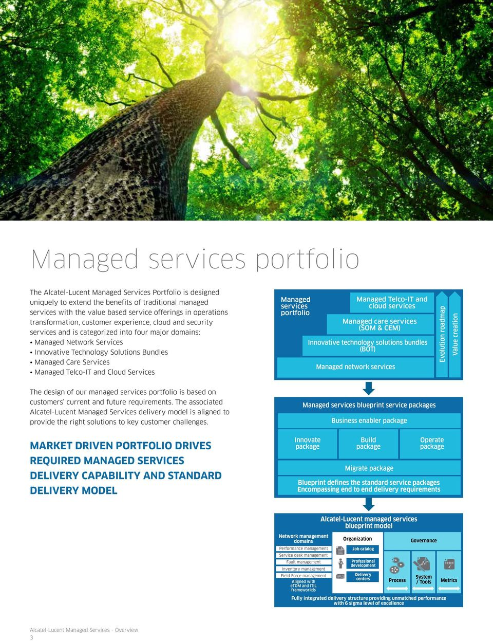 Services Managed Telco-IT and Cloud Services Managed services portfolio Managed Telco-IT and cloud services Managed care services (SOM & CEM) Innovative technology solutions bundles (BOT) Managed