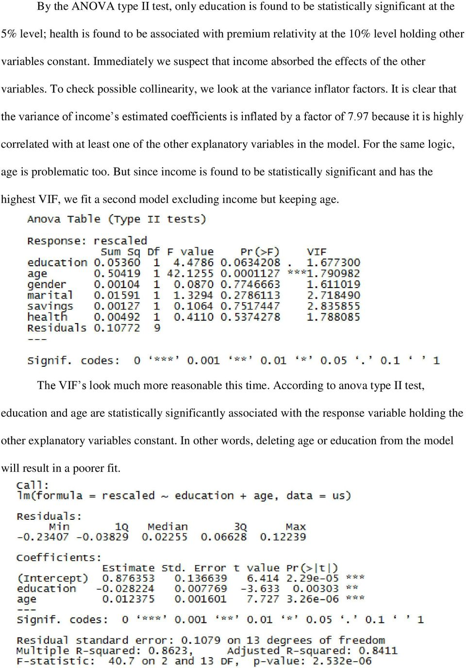 It is clear that the variance of income s estimated coefficients is inflated by a factor of 7.97 because it is highly correlated with at least one of the other explanatory variables in the model.