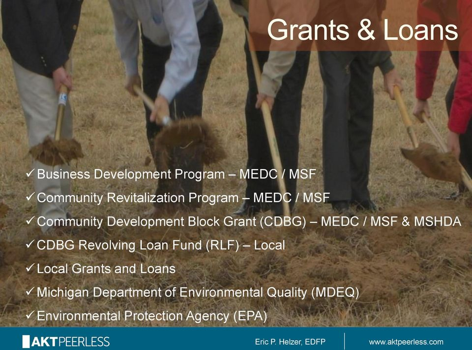 MEDC / MSF & MSHDA CDBG Revolving Loan Fund (RLF) Local Local Grants and