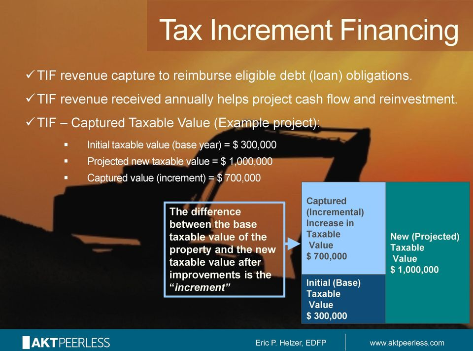 TIF Captured Taxable Value (Example project): Initial taxable value (base year) = $ 300,000 Projected new taxable value = $ 1,000,000 Captured value
