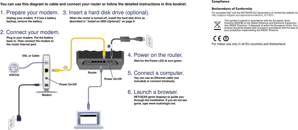 When the router is turned off, install the hard disk drive as described in Install an HDD (Optional) on page 8.