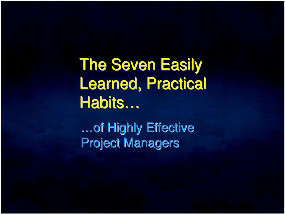 Habits of Highly