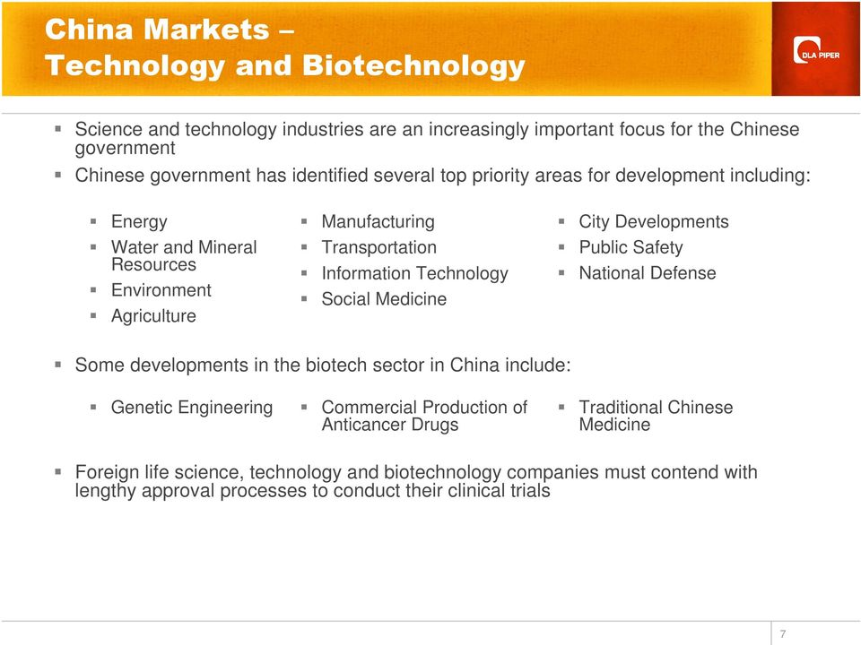 Medicine City Developments Public Safety National Defense Some developments in the biotech sector in China include: Genetic Engineering Commercial Production of Anticancer