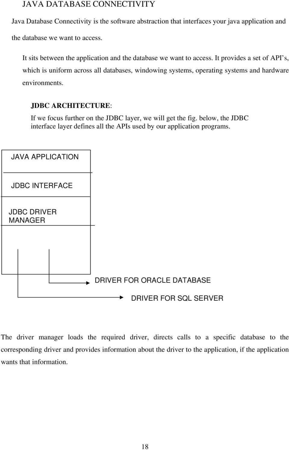 JDBC ARCHITECTURE: If we focus further on the JDBC layer, we will get the fig. below, the JDBC interface layer defines all the APIs used by our application programs.