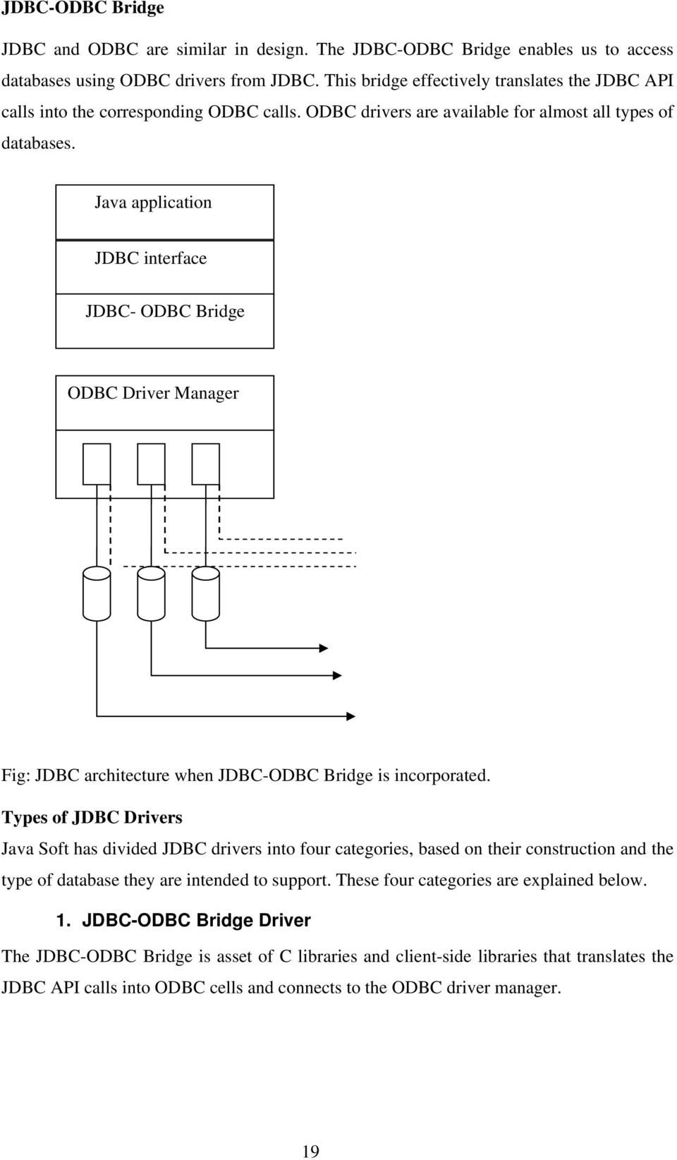 Java application JDBC interface JDBC- ODBC Bridge ODBC Driver Manager Fig: JDBC architecture when JDBC-ODBC Bridge is incorporated.