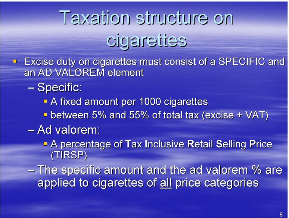 total tax (excise + VAT) Ad valorem: A percentage of Tax Inclusive Retail Selling Price