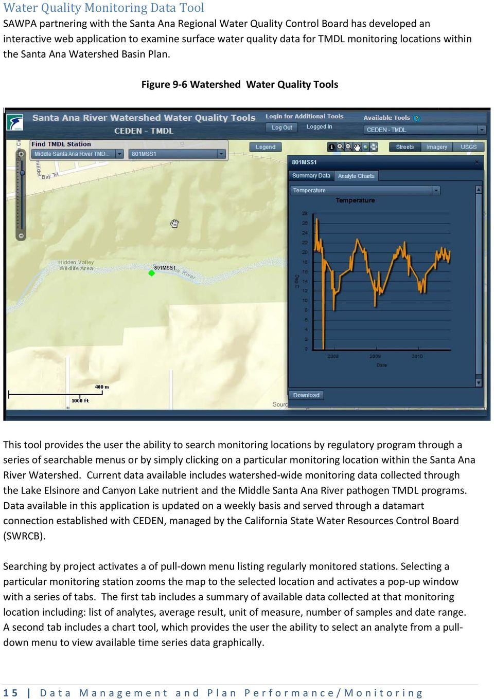 Figure 9-6 Watershed Water Quality Tools This tool provides the user the ability to search monitoring locations by regulatory program through a series of searchable menus or by simply clicking on a