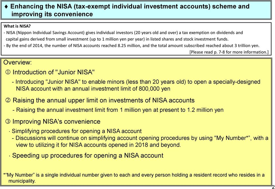 year) in listed shares and stock investment funds. - By the end of 2014, the number of NISA accounts reached 8.25 million, and the total amount subscribed reached about 3 trillion yen. [Please read p.