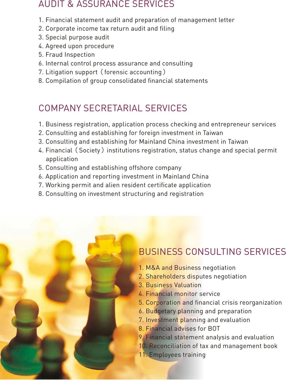 Compilation of group consolidated financial statements COMPANY SECRETARIAL SERVICES 1. Business registration, application process checking and entrepreneur services 2.