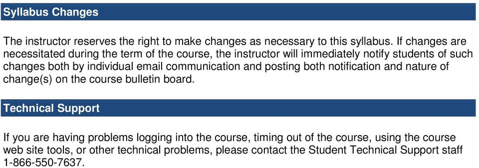 email communication and posting both notification and nature of change(s) on the course bulletin board.