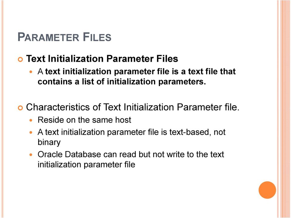 Characteristics of Text Initialization Parameter file.