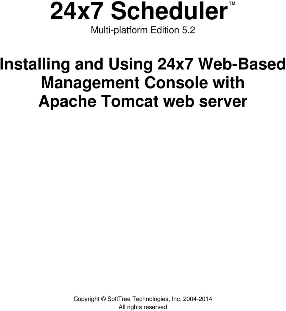 Console with Apache Tomcat web server Copyright