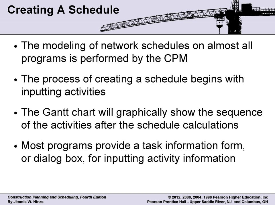 chart will graphically show the sequence of the activities after the schedule calculations