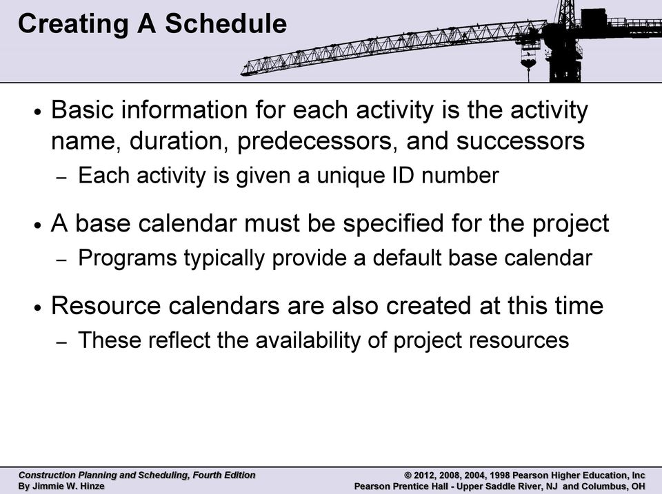 must be specified for the project Programs typically provide a default base calendar