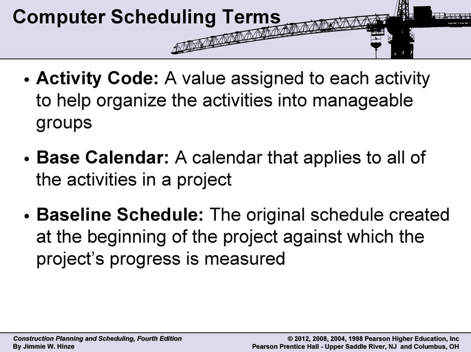 applies to all of the activities in a project Baseline Schedule: The original