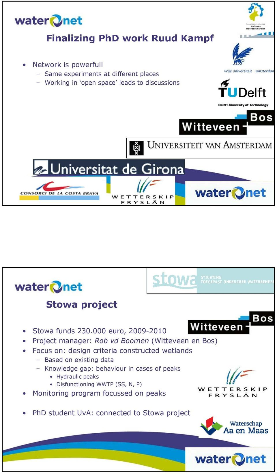 000 euro, 2009-2010 Project manager: Rob vd Boomen (Witteveen en Bos) Focus on: design criteria constructed wetlands Based on