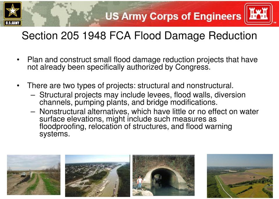 Structural prjects may include levees, fld walls, diversin channels, pumping plants, and bridge mdificatins.