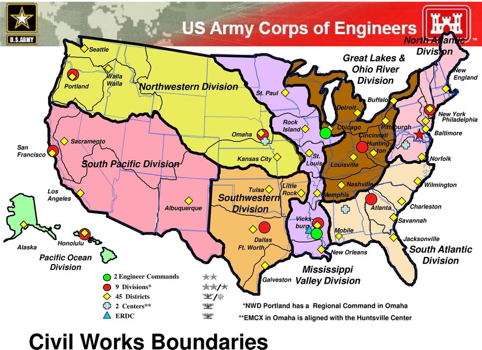 Angeles Hnlulu Pacific Ocean Divisin 2 Engineer Cmmands 9 Divisins* 45 Districts 2 Centers** ERDC Albuquerque Tulsa Suthwestern Divisin Dallas Ft.