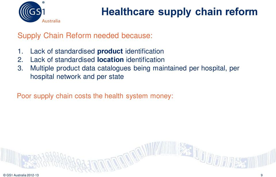 Multiple product data catalogues being maintained per hospital, per hospital network and per state Poor supply chain costs the health system money: