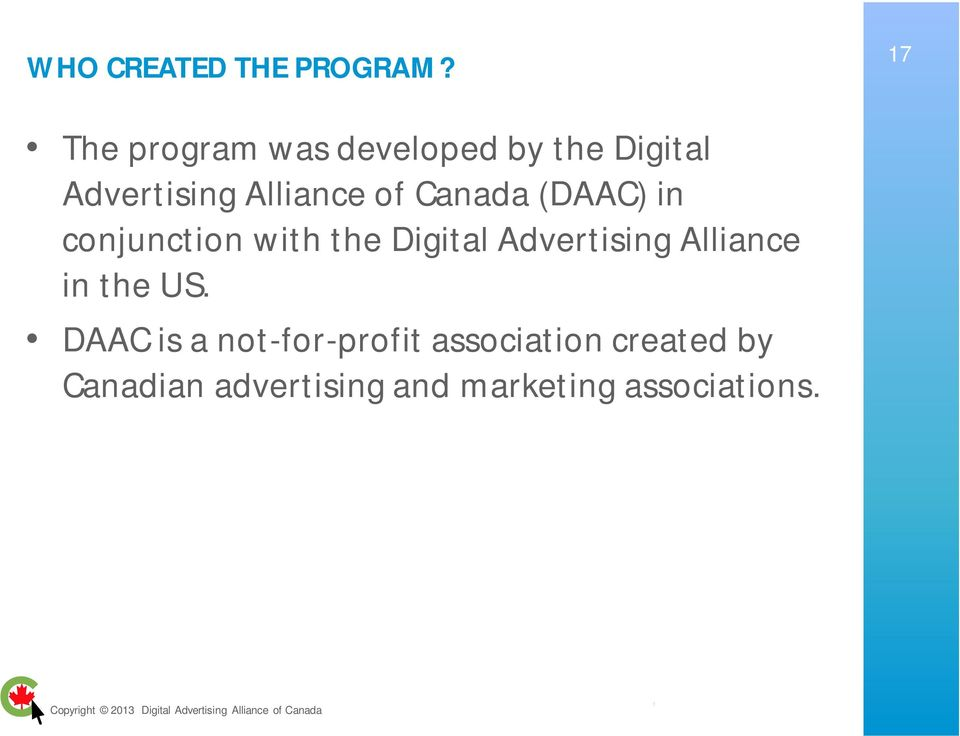 of Canada (DAAC) in conjunction with the Digital Advertising