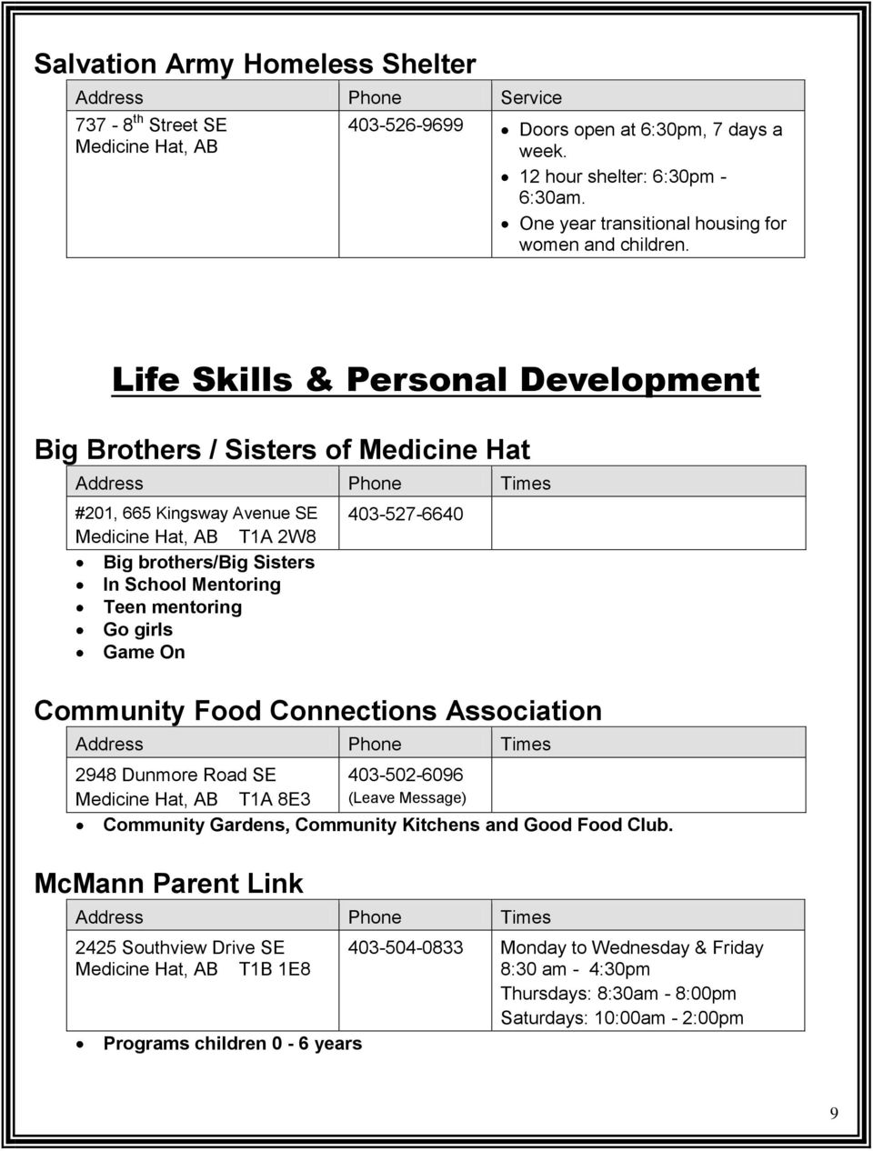 Life Skills & Personal Development Big Brothers / Sisters of Medicine Hat #201, 665 Kingsway Avenue SE T1A 2W8 Big brothers/big Sisters In School Mentoring Teen mentoring Go girls Game