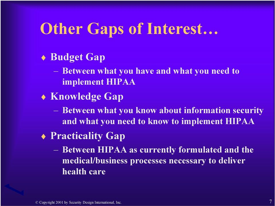 implement HIPAA Practicality Gap Between HIPAA as currently formulated and the