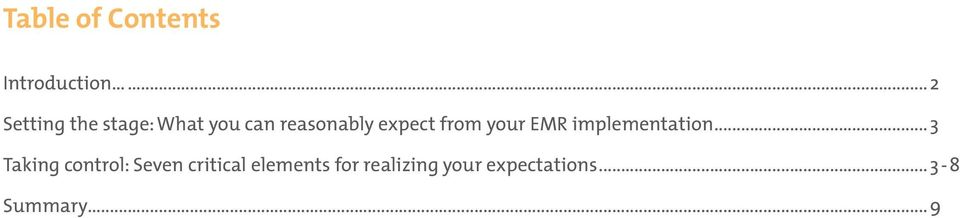 expect from your EMR implementation.