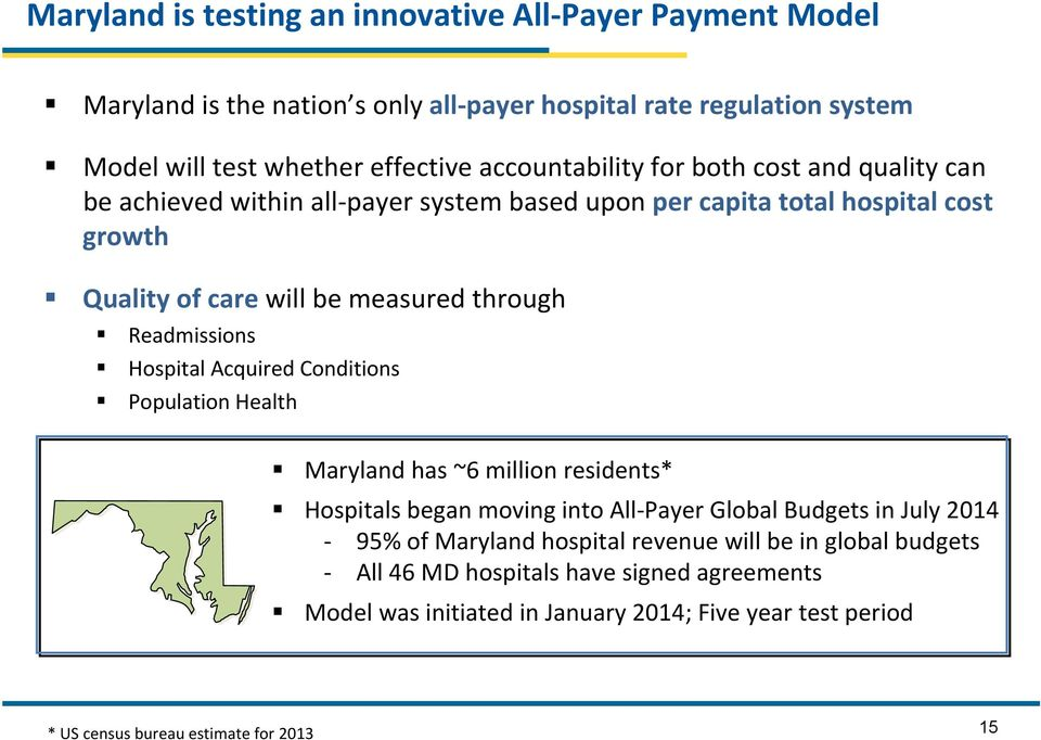 Readmissions Hospital Acquired Conditions Population Health Maryland has ~6 million residents* Hospitals began moving into All Payer Global Budgets in July 2014 95% of